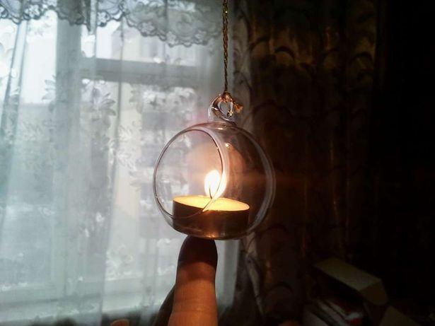 Подсвечник шар стекло декор украшение
