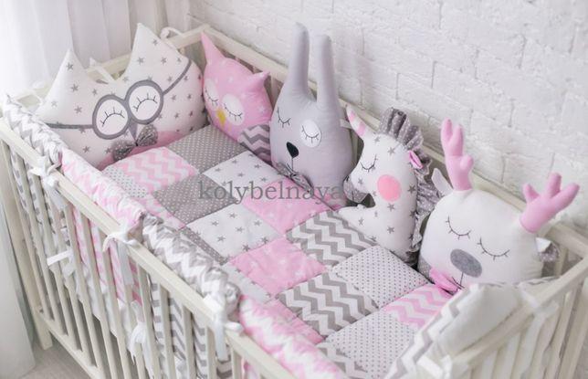 Бортики игрушки защита одеяло постельный комплект в детскую кроватку