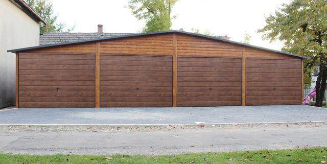 Garaż Drewnopodobny 12x6 złoty dąb, orzech wzmocniony profilami