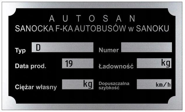 AUTOSAN Tabliczka znamionowa aluminiowa