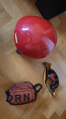 Kask + gogle/ okulary narciarskie+ kamizelka asekuracyjna dla dziecka