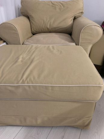 Fotel + podnóżek Ikea