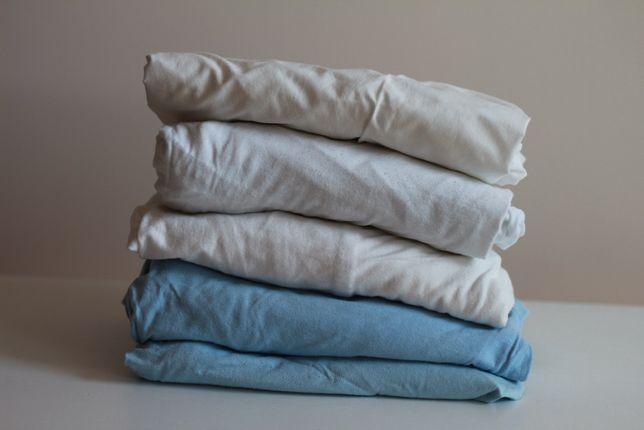 zestaw bawełnianych prześcieradeł z gumką na materac do łóżeczka 5szt.
