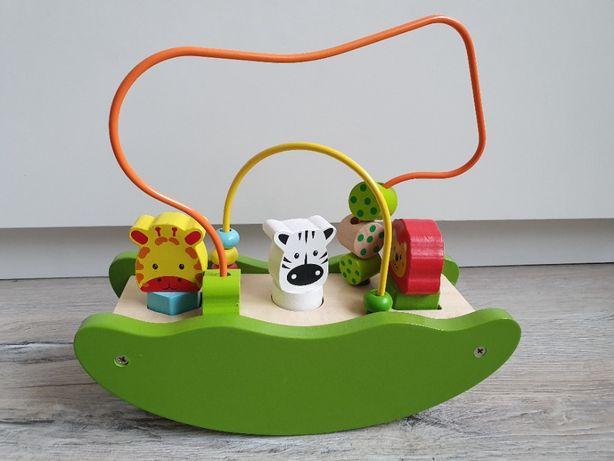 Sun Baby Drewniana Łódka Labirynt Ze Zwierzętami, zabawka manipulacyjn