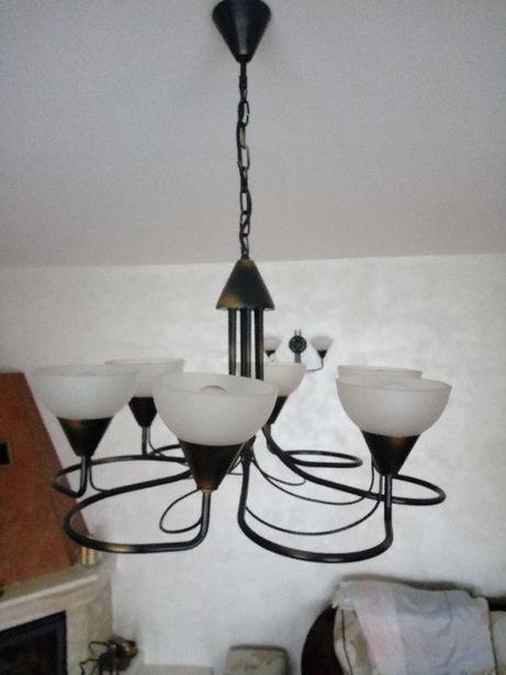 żyrandol metalowy, kinkiet oraz lampa stojąca gratis