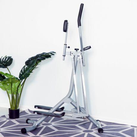 Orbitrek Ergometr NOWY Stalowy srebrny LCD do ćwiczeń fitness