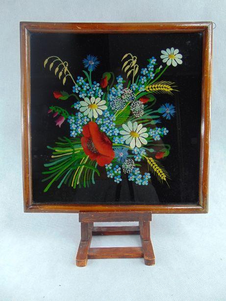 Komplet wiejskich obrazow recznie malowanych na szkle kwiaty ludowy