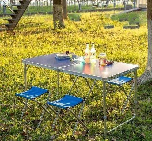 Стіл для відпочинку складний зі стільчиками в чемодані усилений стол