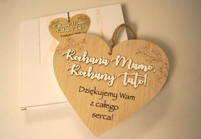 drewniane serce serduszko podziękowania dla rodziców na ślub wesele