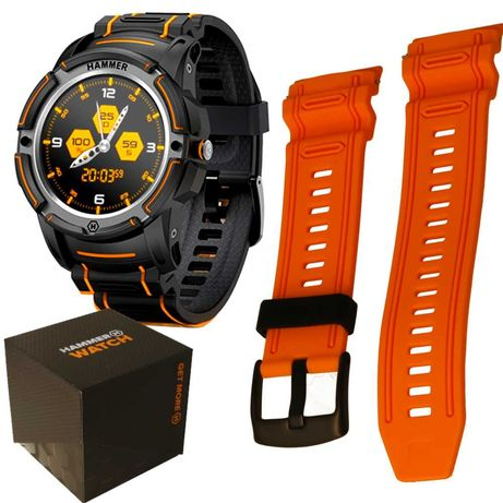 Smartwatch zegarek odporny Hammer Watch 2 paski Saturacja Puls 24m gw