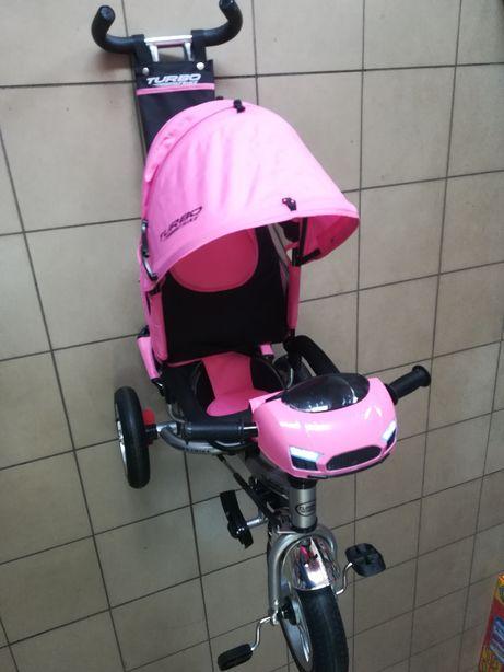 Велосипед-коляска с родительской ручкой свет,звук,пульт управления.