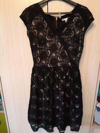 Sukienka koronkowa czarna xs
