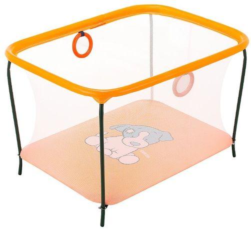 Манеж игровой KinderBox люкс с мелкой сеткой Оранжевый собачка.