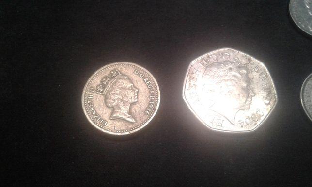 Продам-монеты-1 фунт и 50 центов1986-и 2004