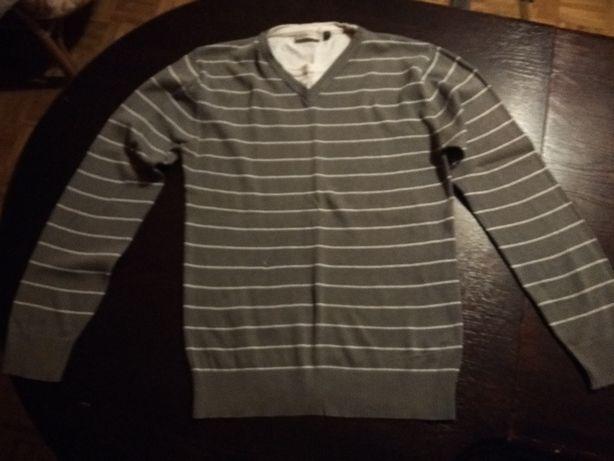 szary sweter z białymi paskami - rozmiar s