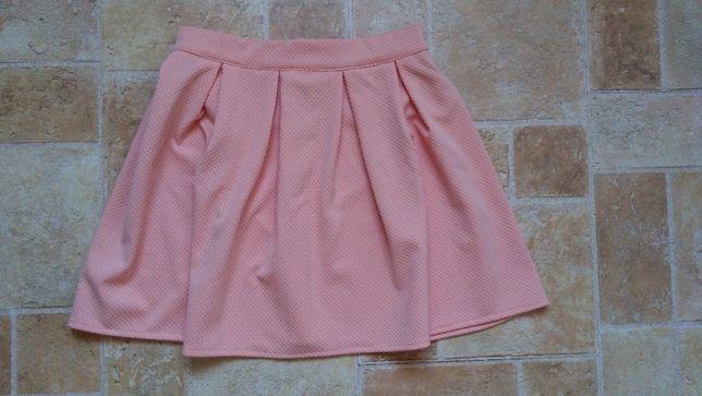 Pudrowa, łososiowa spódnica rozkloszowana damska
