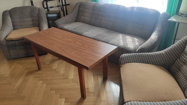 Zestaw Wypoczynkowy - dwa fotele, wersalka, stolik kawowy, mały stolik