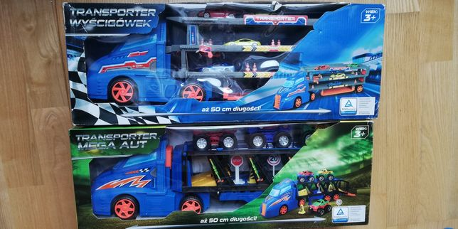 transporter przewożący auta 50cm długości - laweta + autka i znaki