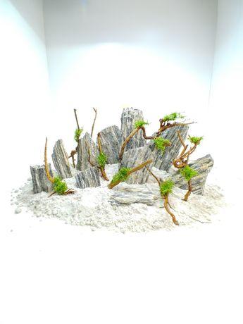 Gotowa Aranżacja nr.2 skały korzenie mech do akwarium korzeń Zobacz !