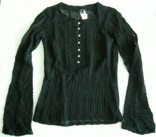 Camisola preta Lã Mango tamanho S efeito crochet