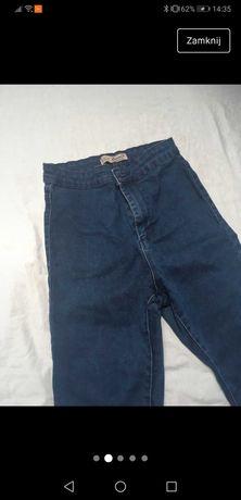 Jeansy granatowe z wysokim stanem