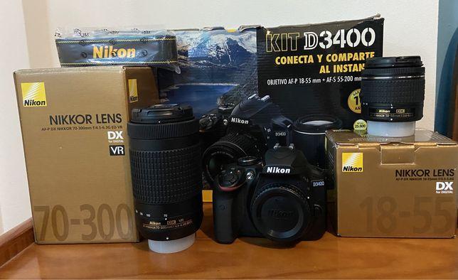 Maquina Nikon D3400 + Dx 18-55mm + DX 70-300mm