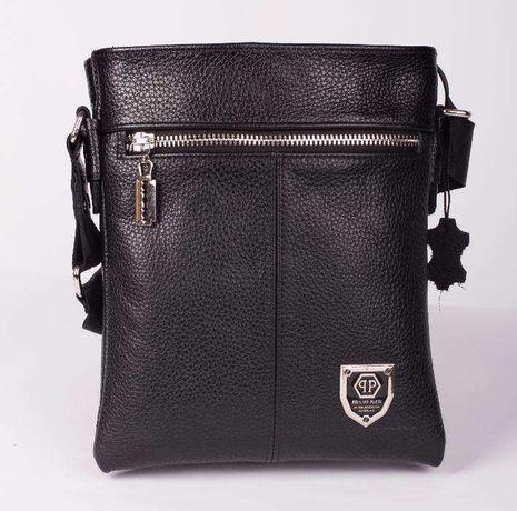 Philipp Plein двухсторонняя кожаная мужская сумка. 100% кожа!