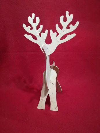 Renifer 3D drewniany, ozdoba, decoupage, hand made, święta