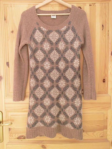 sukienka dzianinowa tunika Object S 36 dzianinowa z wełną 40% wool