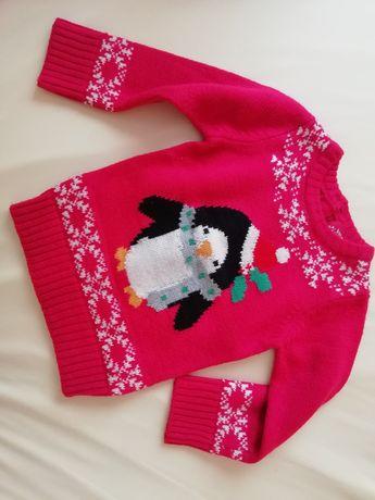 Sweterek świąteczny zima 86 cm 12-18mcy