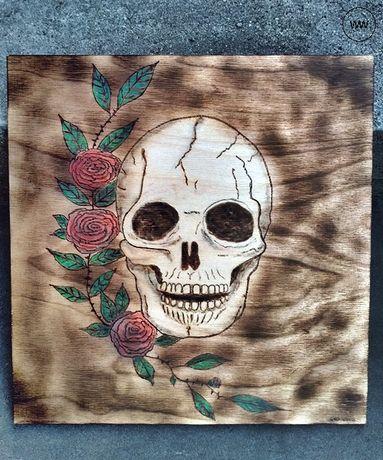 Czaszka - obraz wypalony w drewnie Rękodzieło