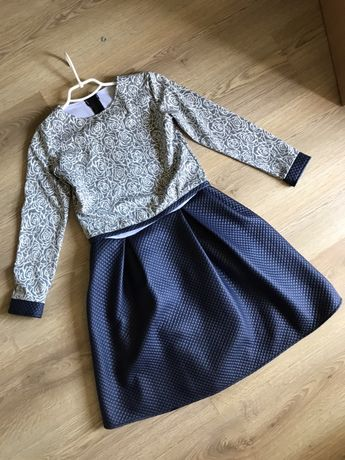 Платье темно синее двойное сарафан юбка кофта эко кожа осеннее