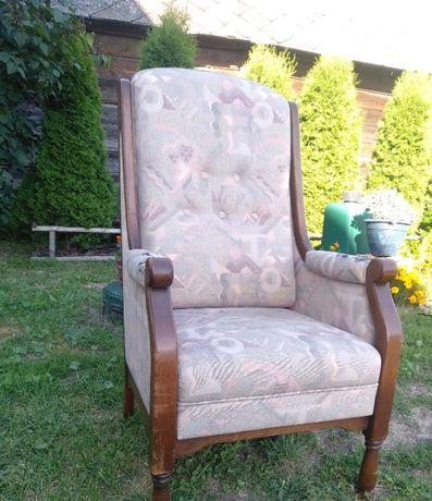 Fotel tron dębowy podnoszone siedzisko holenderski