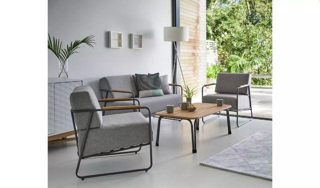 Stylowe Meble Ogrodowe TRENTON Sofa + 2 Fotele + Stolik + Grube Poduc