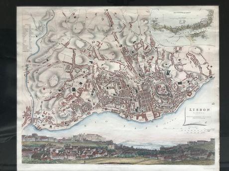 Gravura - mapa de Lisboa - Sec. XIX - original