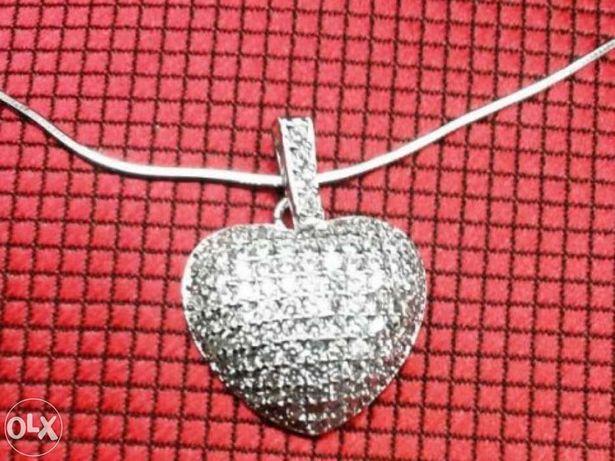 I Prata 925: Colar com pendente - Coração