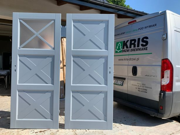 Drzwi wewnętrzne drewniane sosnowe malowane szare wiejskie KRIS