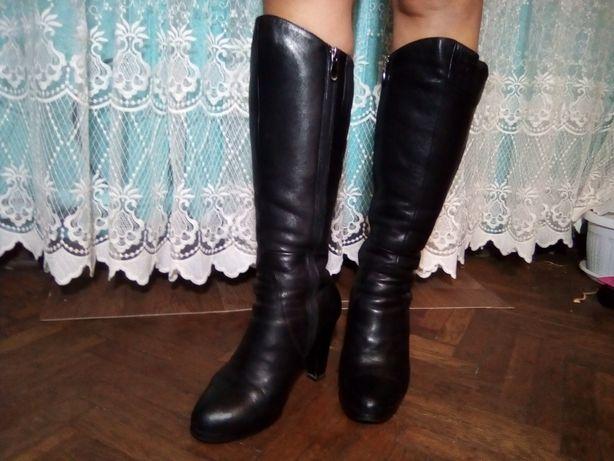 Сапоги зимние кожаные 38р