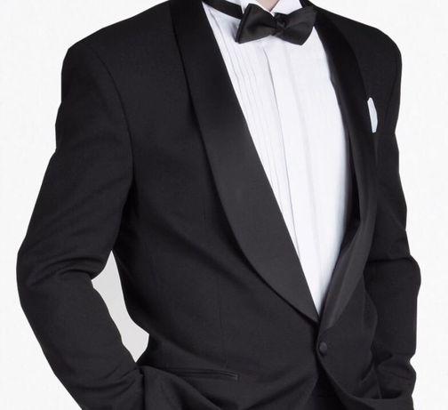 Smoking ślubny Oscar Jacobson czarny, garnitur 182-190 cm, ślub,wesele