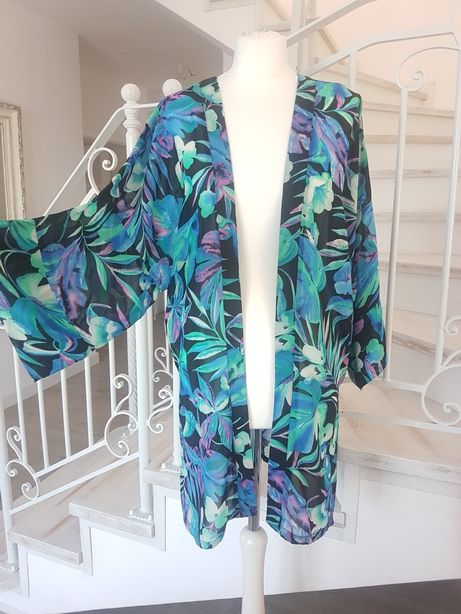 Kimono narzutka niebieskie kwiaty rozm XL