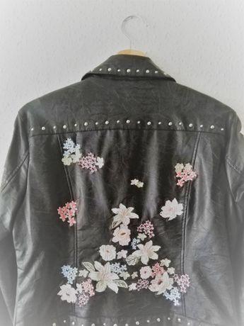 RAMONESKA / kurtka kwiatowa! / czarna / zdobiona / w kwiaty /S,M