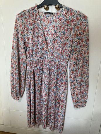 Vestido Floral Zara / Manga comprida e decote em V / M