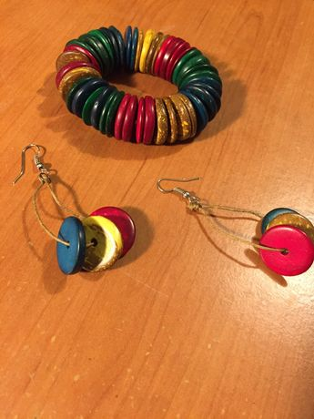 Ręcznie robione kolczyki z bransoletką