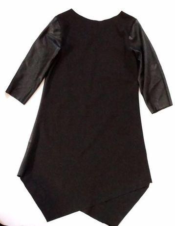 S M czarna tunika sukienka a'la skóra asymteryczna