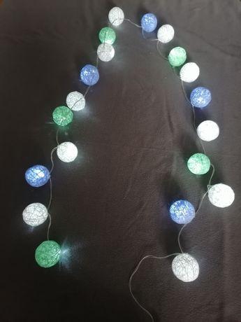 Cotton balls hand made rękodzieło ozdoby dekoracje 20 Led pokój 2.2 m