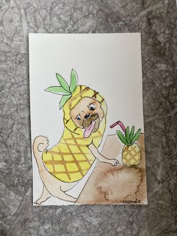 Kartka okolicznościowa mops mopsik pug pies ananas handmade